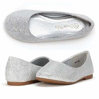 Girl silver sequined ballerina shoes
